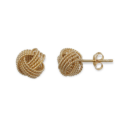 14K Yellow Gold Over Sterling Silver Knot Earrings