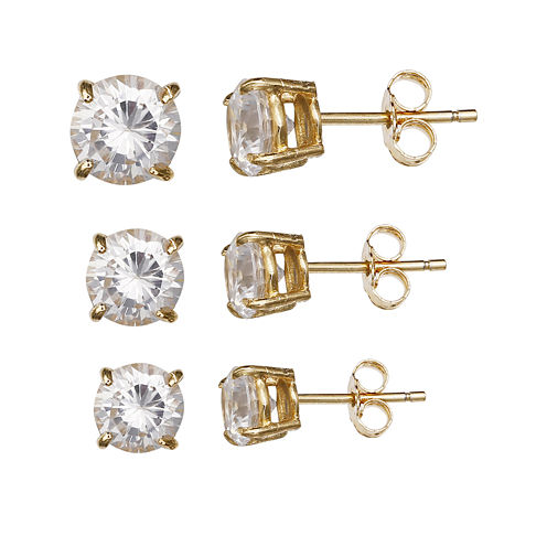 3-pr. Cubic Zirconia 14K Yellow Gold Over Sterling Silver Stud Earring Set
