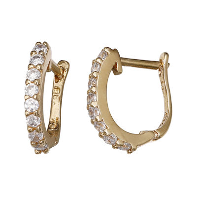 Cubic Zirconia 14k Yellow Gold Over Sterling Silver Huggie Hoop Earrings