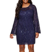 My Michelle® Long-Sleeve Scalloped-Hem Glitter Lace Short Dress - Plus