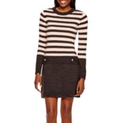 by&by Long-Sleeve Striped Drop-Waist Sweater Dress