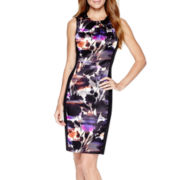 London Style Collection Sleeveless Floral Sheath Dress