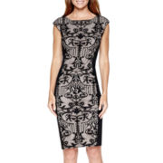 London Style Collection Cap-Sleeve Lace Panel Sheath Dress