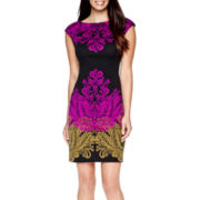 London Style Collection Cap-Sleeve Print Sheath Dress