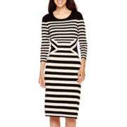 Danny & Nicole® 3/4-Sleeve Striped Sweater Dress - Petite