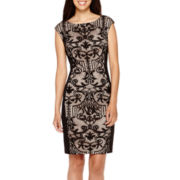 London Style Collections Cap-Sleeve Lace-Inset Sheath Dress - Petite