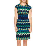 R&K Originals® Cap-Sleeve Zip-Shoulder Sheath Dress - Petite