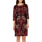 Tiana B. 3/4-Sleeve Print Sheath Dress - Petite
