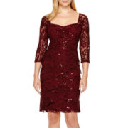 Scarlett 3/4-Sleeve Lace Sheath Dress - Petite