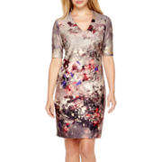DR Collection Short-Sleeve Floral Print Sheath Dress - Petite