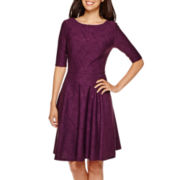 Danny & Nicole® Elbow-Sleeve Wavy Knit Fit-and-Flare Dress - Petite