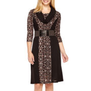Robbie Bee® 3/4-Sleeve Animal Print Cowlneck Sweater Dress - Petite