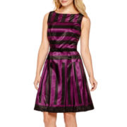 Danny & Nicole® Sleeveless Shantung Fit-and-Flare Dress - Petite