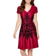 Studio 1® Cap-Sleeve Flocked Fit-and-Flare Dress