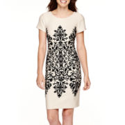 Studio 1® Cap-Sleeve Flocked Sheath Dress