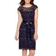Blu Sage Cap-Sleeve Sequin Lace Sheath Dress