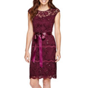 Blu Sage Cap-Sleeve Sequin Lace Sheath Dress