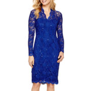 Blu Sage Long-Sleeve Sequin Lace Sheath Dress