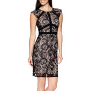 R&M Richards Cap-Sleeve Sequin Lace Sheath Dress