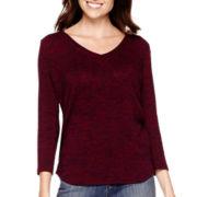 Liz Claiborne® 3/4-Sleeve Marled V-Neck Knit Top - Tall