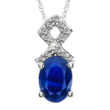 jcpenney.com | Lab-Created Blue Sapphire and Diamond-Accent 10K White Gold Split-Bail Pendant Necklace