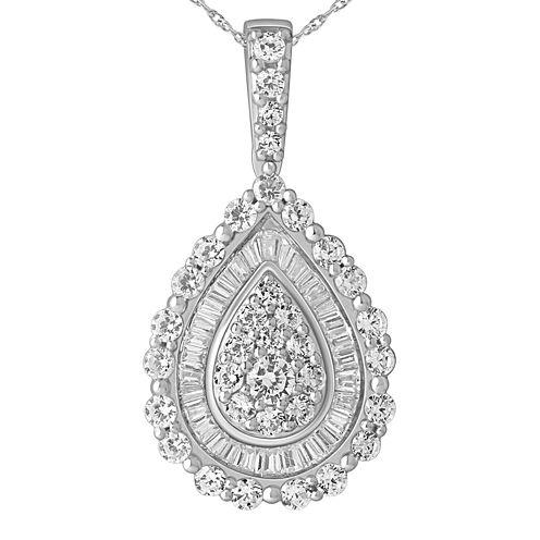 1 CT. T.W. Diamond 14K White Gold Pear-Shaped Pendant Necklace