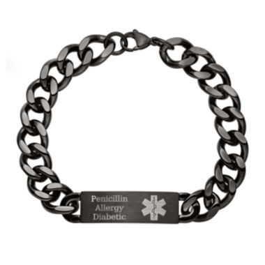 jcpenney.com | Personalized Mens Black IP Stainless Steel Medical ID Bracelet