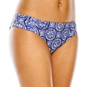 Stylus™ Print Shirred Side-Tab Hipster Swim Bottoms