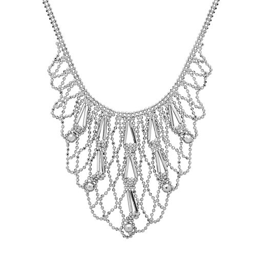 Sterling Silver Beaded Bib Necklace