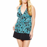 Jamaica Bay® Ruffled Halterkini Swim Top or Circle Skirted Bottoms - Plus