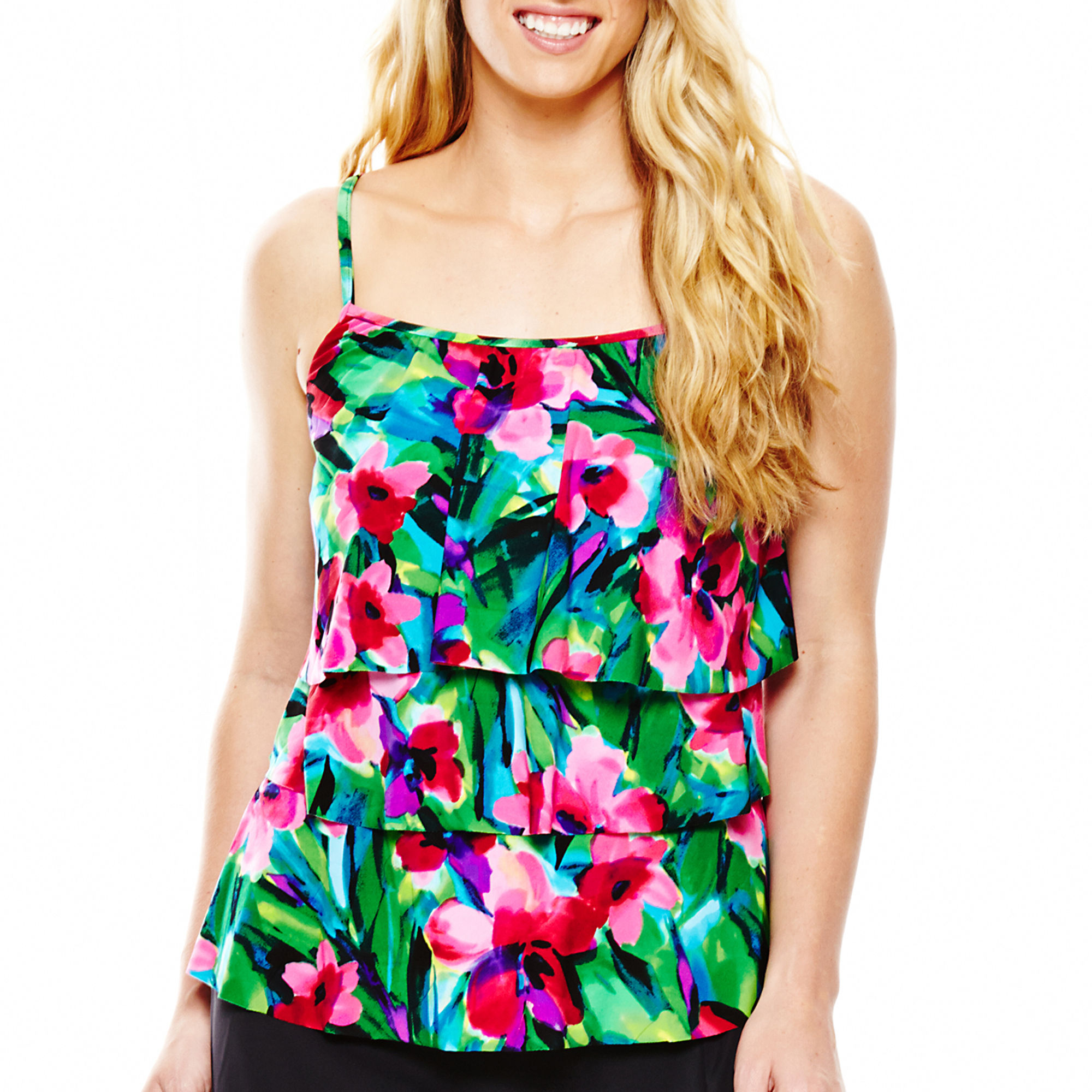 Jamaica Bay Triple Tier Tankini Swim Top - Plus