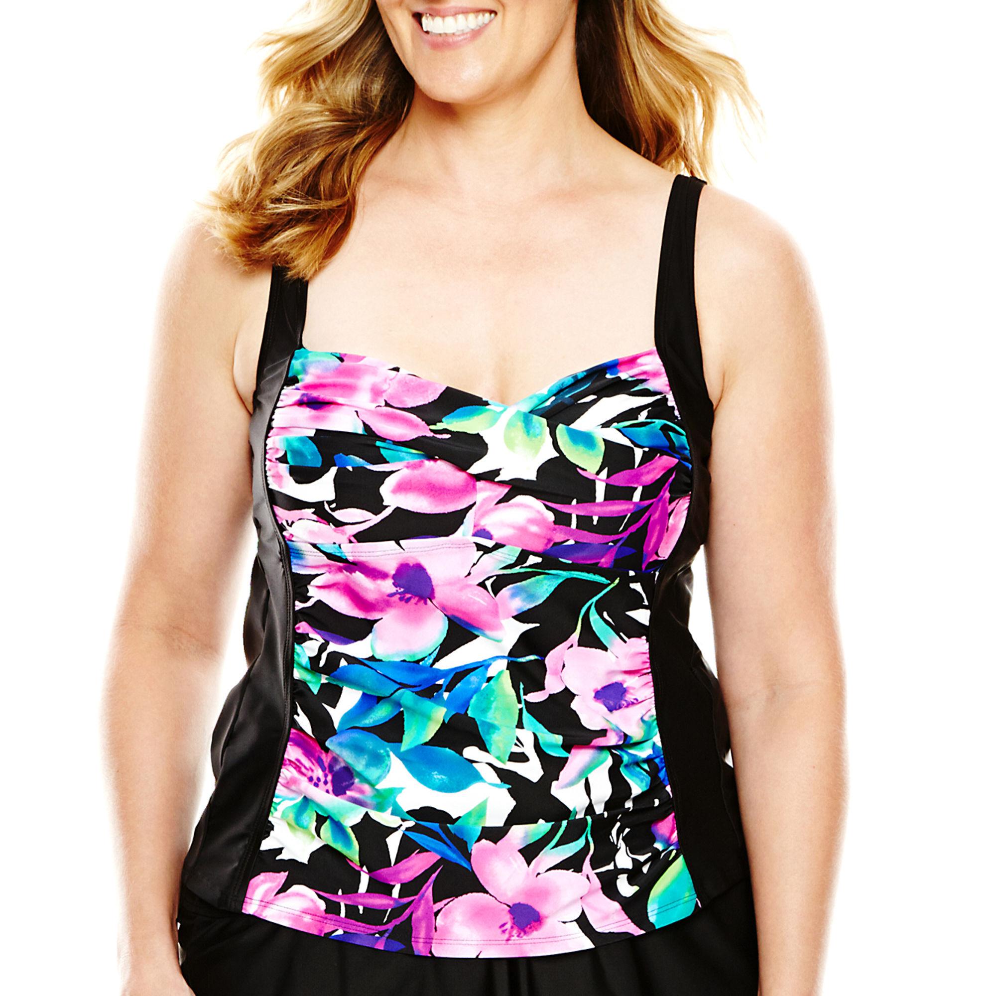 Delta Burke Floral Print Tankini Swim Top - Plus