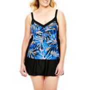 Delta Burke® Print Tankini Swim Top or Slit Skirted Bottoms - Plus