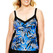 Delta Burke® Tropical Palm Print Tankini Swim Top - Plus