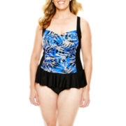 Delta Burke® Ruffled-Skirt One-Piece Swimdress - Plus