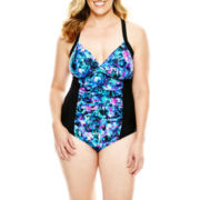 Delta Burke® Floral Print One-Piece Swimsuit - Plus