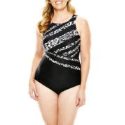Delta Burke® High-Neck One-Piece Swimsuit - Plus