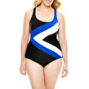 Delta Burke® Sporty X-Back One-Piece Swimsuit - Plus