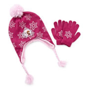 Disney Frozen Pompom Hat and Gloves - Girls One Size