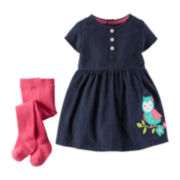 Carter's® Corduroy Owl Dress and Tights - Baby Girls newborn-24m