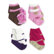 Baby Essentials® 4-pk. Flower Socks Set - Baby Girls One Size