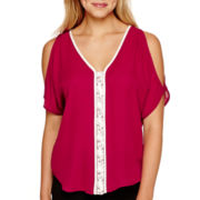 XOXO® Short-Sleeve Contrast-Trim Top