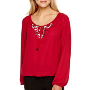 XOXO® Long-Sleeve Embellished Peasant Top