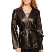 Liz Claiborne® Leather Kimono Jacket - Petite