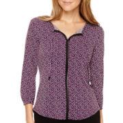 Liz Claiborne® 3/4-Sleeve High Low Tie-Front Blouse - Petite