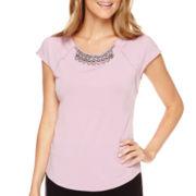 Liz Claiborne® Short-Sleeve Embellished Drop-Shoulder Top - Petite