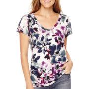 Liz Claiborne® Short-Sleeve Pleat-Front T-Shirt - Petite