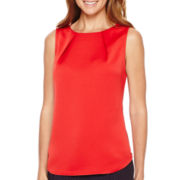 Liz Claiborne® Sleeveless Pleated Shell