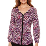 Liz Claiborne® 3/4-Sleeve Faux Leather-Trimmed Print Knit Top