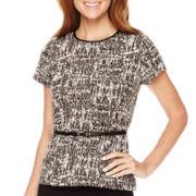 Liz Claiborne® Short-Sleeve Belted Textured Peplum Top